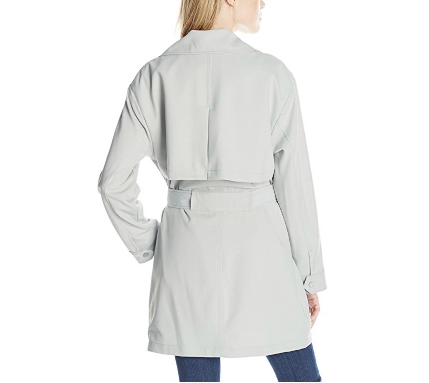 7 7 7 For All Mankind Women's Asymmetrical Fashion Drape Trench Coat, Coastal Grey ace56f