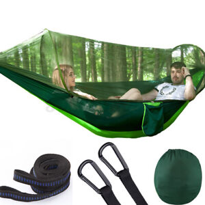 2 Person Camping Hanging Hammock Bed W/ Mosquito Net Travel Outdoor Garden Yard