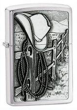 "Zippo Emblem Lighter ""Cowboy Resting"" No 24879 - New on brushed chrome finish"
