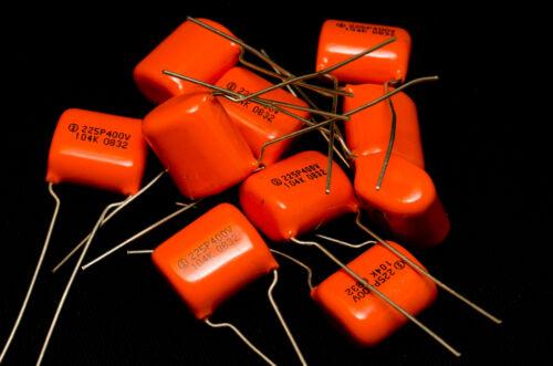 100pcs SPRAGUE 225P 0.1uF 400V 104 Polyester Film capacitors Orange Drop CDE SBE