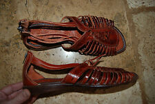 New Dark Caramel Brown Strappy Rear Zip MAYA Mexico Open Toe Sandals US 9