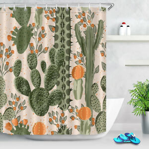 Image Is Loading Green Cactus Orange Flowers Shower Curtain Liner Polyester