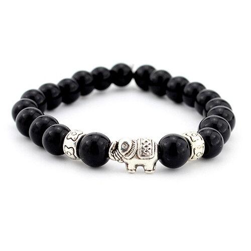 LC/_ Femmes Homme Éléphant Bracelet Élastique Corde Perles Bijoux Breloque U
