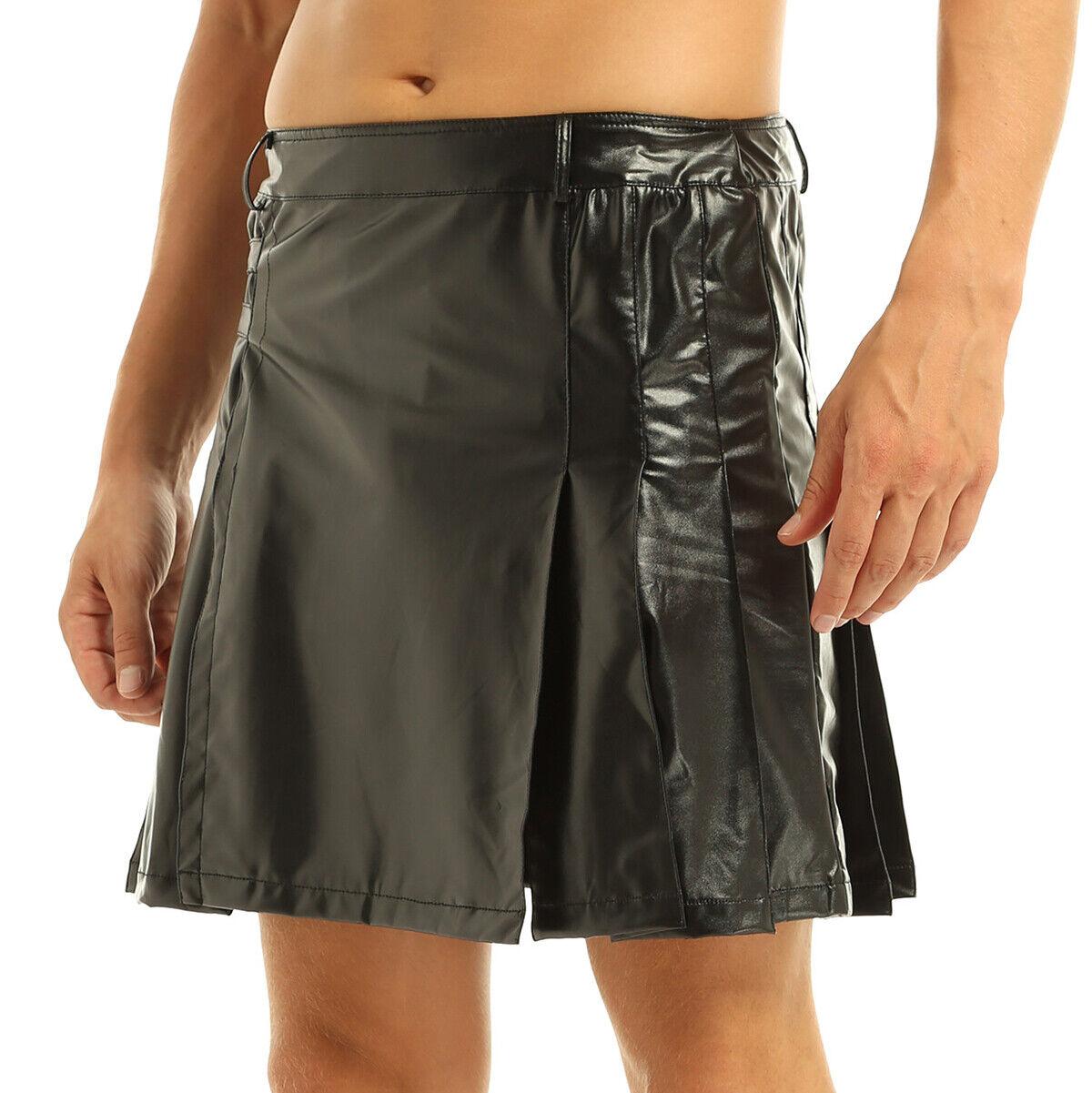 Sexy Men Black Faux Leather Pleated Skirt Gladiator Kilt Split Wrap Utility Kilt