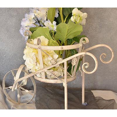 Jardiniere Brouette Deco Florale Plantes Retro Vintage Shabby Chic Blanc Metal
