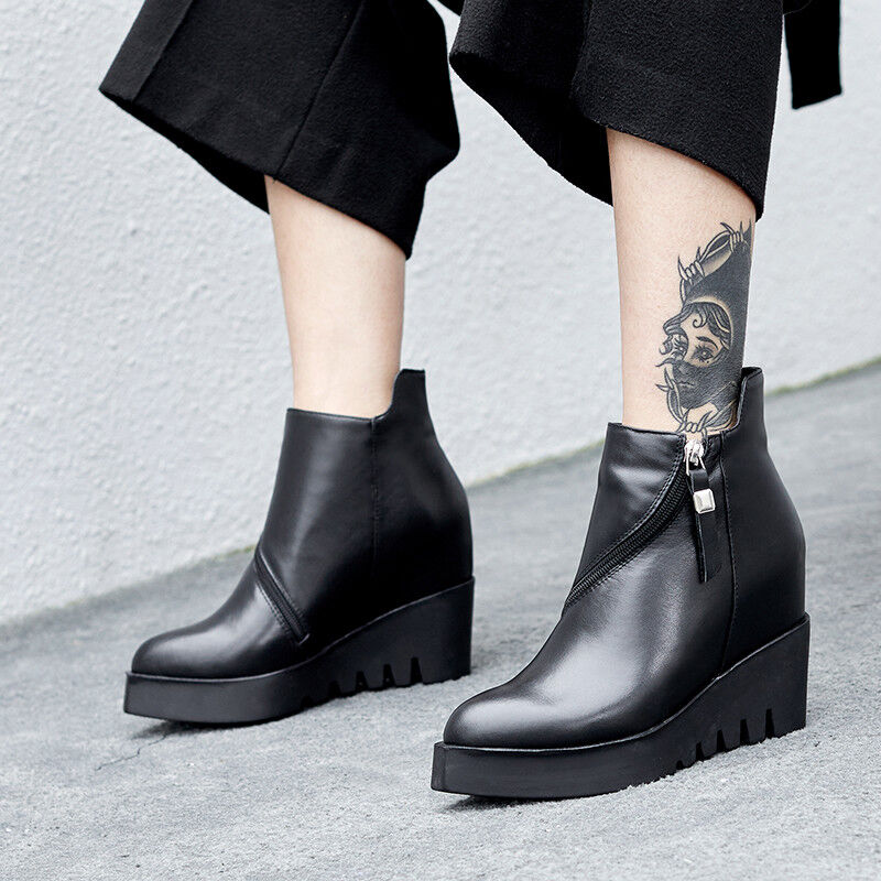 Women Wedge High Heel Leather Ankle Boots Pointed Toe Zip Platform Creepers Punk