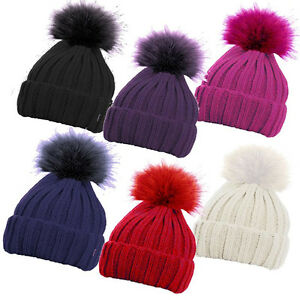 girls pom pom hat knitted bobble chunky warm cream purple pink red ... cd82b30fa6b