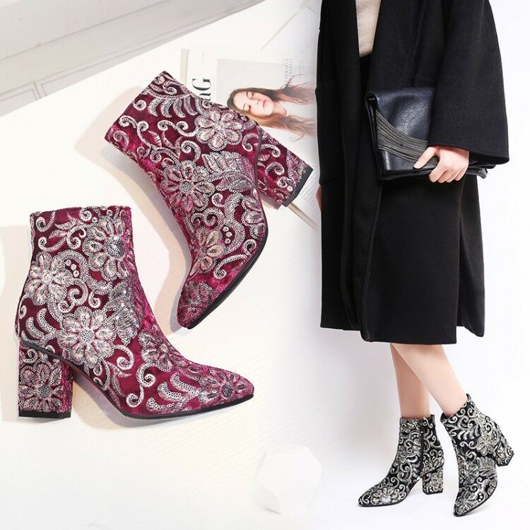 Womens New Fashion Glitter Sequin Embroidered Block Heel Ankle Boots shoes XUNL