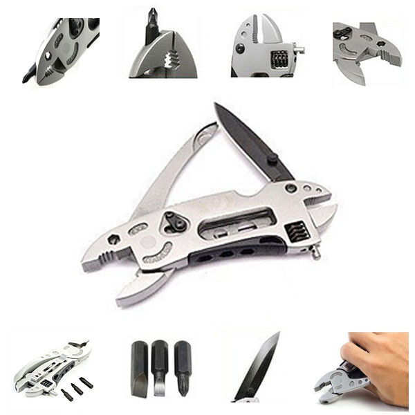 NEW Multi Tool Set Adjustable Wrench Jaw+Screwdriver+Pliers+Knife Survival Gear