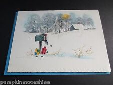 # I 929- Vintage Unused Xmas Greeting Card Pretty Glittered Winter Landscape