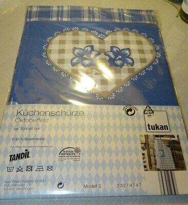 * Nuovo * Grembiule Oktoberfest Ovp Blu-bianco 70x85cm Genzianella Cuore 100% Baumw.-mostra Il Titolo Originale