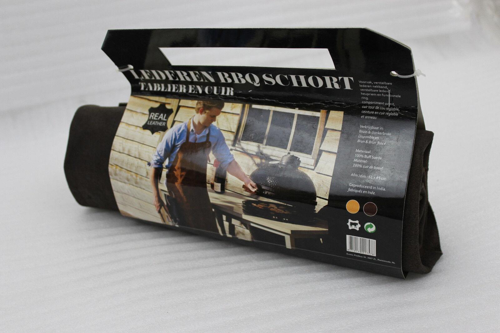 Evora parrilla delantal BBQ cuero delantal cuero auténtico marrón oscuro 61 x 85 cm nuevo