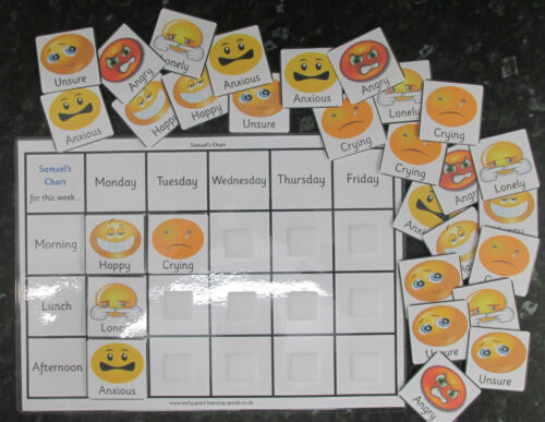 A4 or A5 with 29 pec cards Promote good behaviour pecs~School Emotions charts