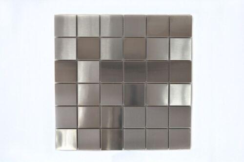 Mosaik Fliese Edelstahl silber Stahl gebürstet Wand Küche129-48D/_f10Matten