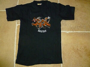 Boys-Genuine-BHUTAN-T-Shirt-Age-12-36-Chest-Black-Cotton