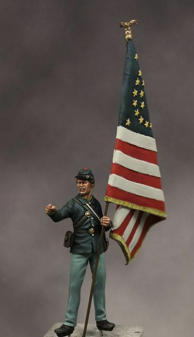 Beneito Union Soldier with flag Little Round Top 1863 54mm Unpainted kit