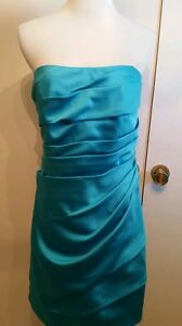 David-039-s-Bridal-strapless-knee-length-bridesmaid-Dress-sz-12-style-034-F14212-034-blue