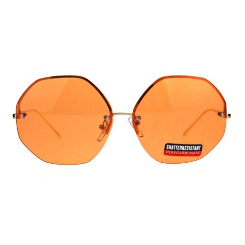 Oversize Womens Pop Color Octagonal Rimless Hippie Sunglasses