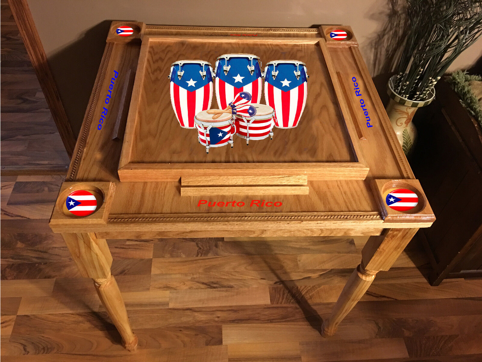 Puerto Rico Flag Domino Table med Congas -MVP