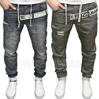 Enzo Mens Designer Branded Darkwash & Grey Cuffed Jogger Jeans,