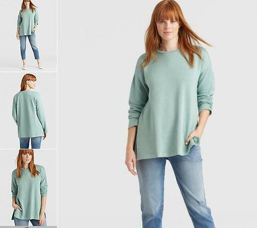NWT Eileen Fisher XL Elm Org. Cotton Blend Terry Roundneck Top