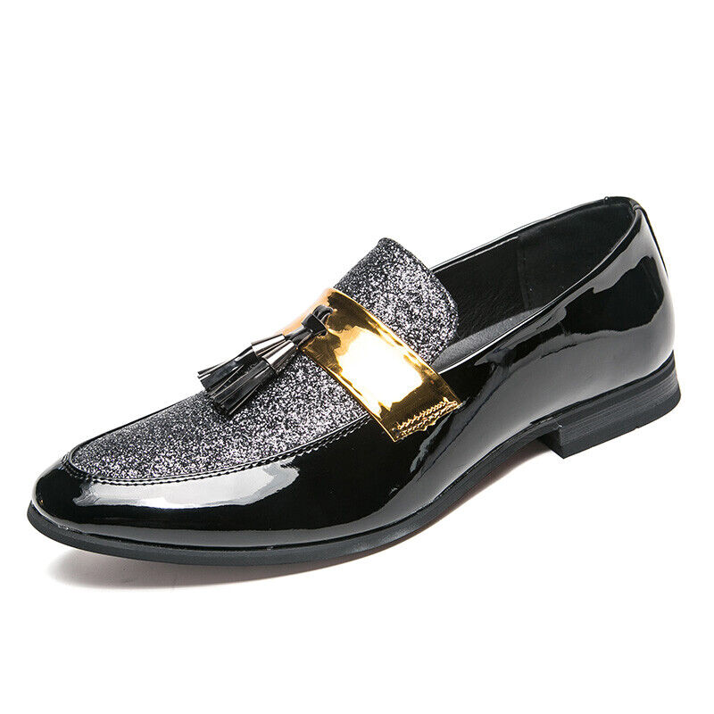 Mens Patent Leather Slip On Loafer Sequins Tassles Pointy Toe Casual shoes Jd_uk