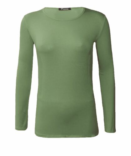New Ladies Basic Plain Long Sleeve  Round Neck Stretch Top T Shirt Size UK 8-26