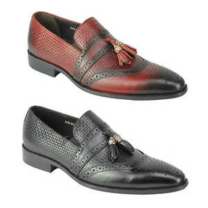 Mens-Real-Leather-Slip-on-Tassel-Loafers-High-Detailed-Smart-Dress-Party-Shoes