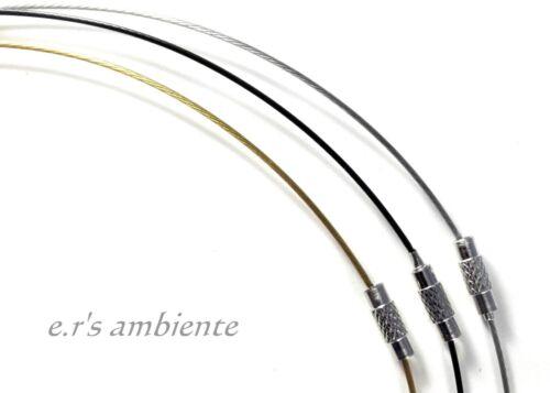 Ein 45 cm Edelstahl-Halsreifen mit Drehverschluß in drei Farben