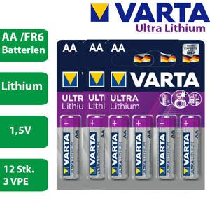 12 x Varta Ultra Lithium eh Professional 6106 AA Mignon FR6 1,5V Batterie