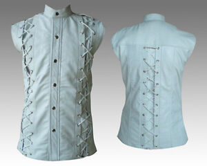 mens white leather sleeveless laces shirt lacing model new