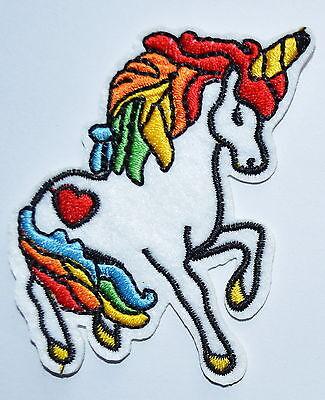 Unicorn Rainbow Iron on patch Heart 70's Retro Kawaii Kitsch Rockabilly Punk