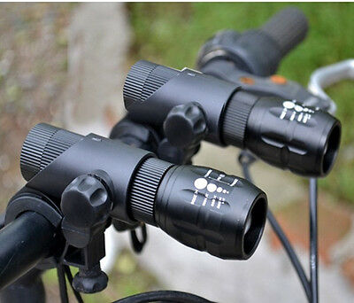 Double Q5 LED Zoomable Bike Cycling Head Light Front Flashlight Torch SET