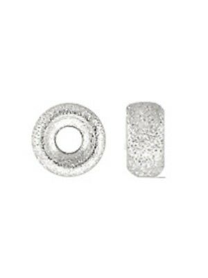 925 Sterling Silver 4.2x2.3mm Stardust Roundel Spacer Beads 12pcs #5122-2