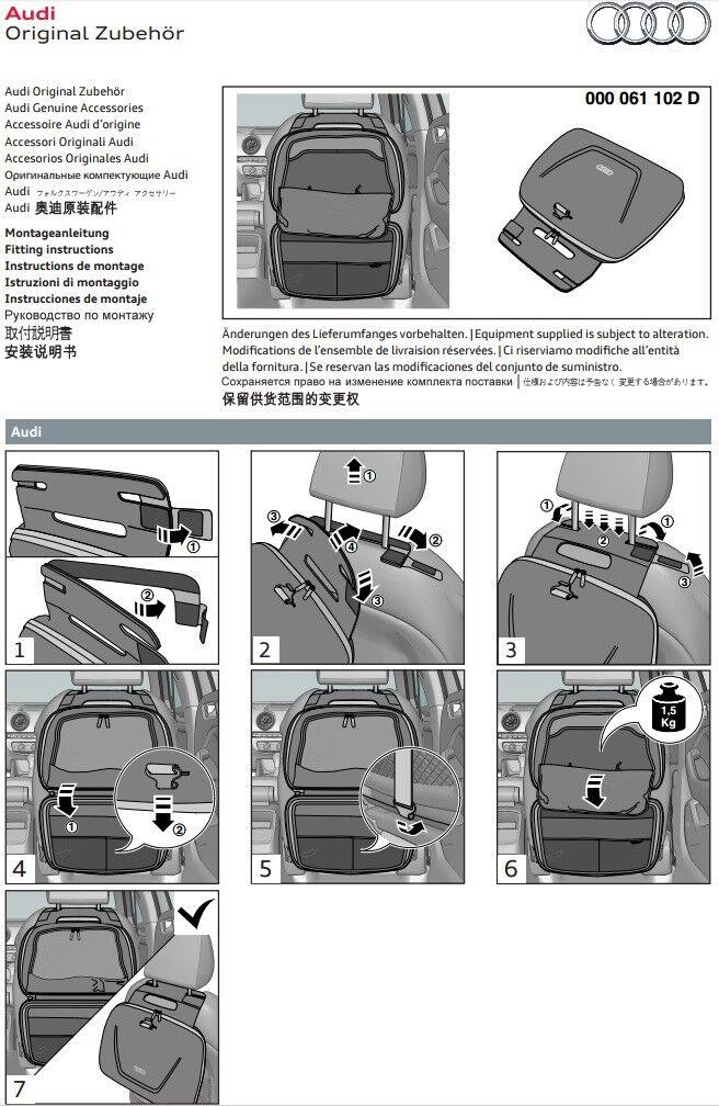 Audi Lehnentasche 000061102D Tasche Aufbewahrungstasche Rückenlehne Fondbox