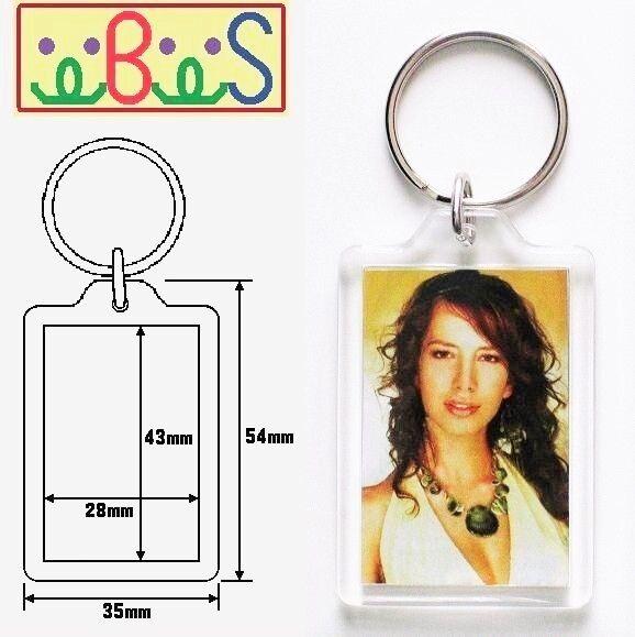 2x Blank Acrylic Keyrings 49x35mm Frame & 43x28mm Photo key ring plastic 09008