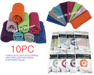 10PC-WHOLESALE-LOT-Ice-Cooling-Towel-for-Sports-Workout-Fitness-Gym-Yoga-Pilates