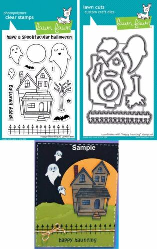 Lawn Fawn HAPPY HAUNTING Clear Stamps /& Lawn Cuts Die Set LF357 LF966 Halloween