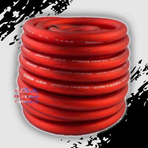 4 Gauge 10 ft RED Flex OFC Power Wire Strands Copper High Voltage Marine Cable