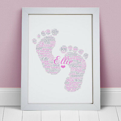 PERSONALISED KEEPSAKE WORD ART NEW BABY BOY NEWBORN BABY SHOWER GIFT HIM