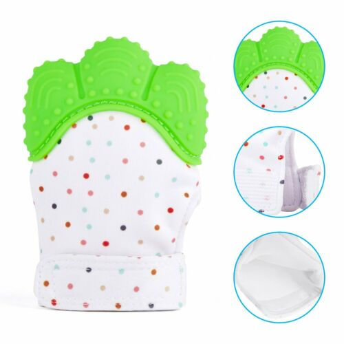 Baby Mitt Teething Mitten Silicone Glove Gum Candy Wrapper Sound Teether Love UK