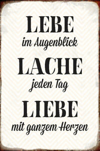 Lebe Lache Love Tin Sign Shield Arched Metal Tin Sign 20 X 30 CM
