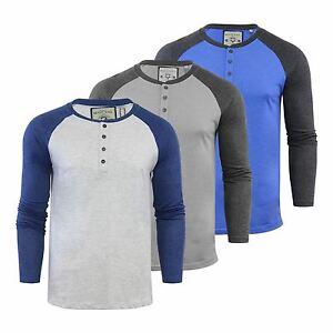 Mens-T-Shirt-Brave-Soul-Rasmus-Henley-Neck-Long-Sleeve-Casual-Top