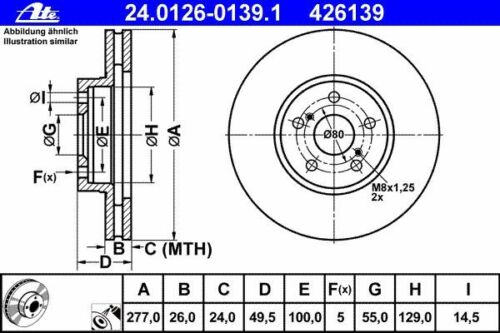 2003-2008 ATE BREMSSCHEIBEN 277mm BREMSBELÄGE VORNE TOYOTA AVENSIS T25  Bj