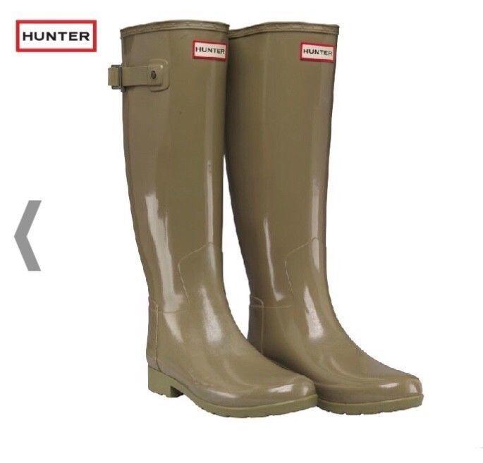 Hunter Original raffiné Wellies Vert Sauge Gloss Wellington bottes UK 4 EU 37
