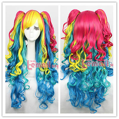 lolita 75cm long Rainbow curly wave cosplay wig with ponytails ZY63A