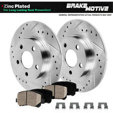POWER DRILLED SLOTTED PLATED BRAKE ROTORS CERAMIC PADS 56540PK FRONT + REAR