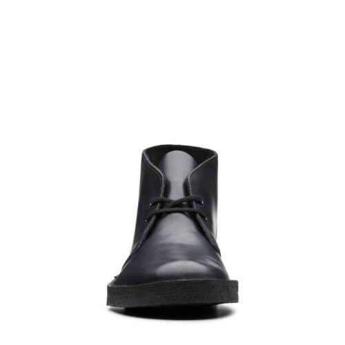 NEW MEN CLARKS OF ENGLAND ORIGINAL BLACK POLISHED LEATHER DESERT BOOT CREPE SOLE