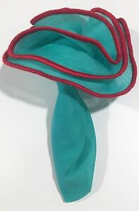 Pocket Square Round Mint Green With Red Stitched Borders By Squaretrapny.com