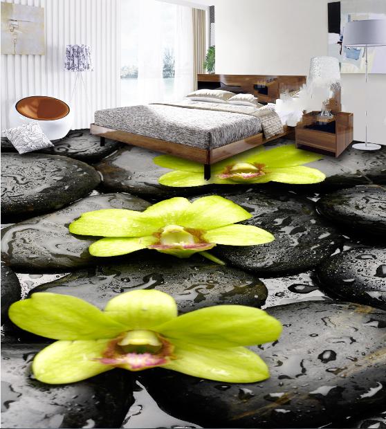 3D Stein Blumen 557 Fototapeten Wandbild Fototapete Tapete Familie DE Lemon